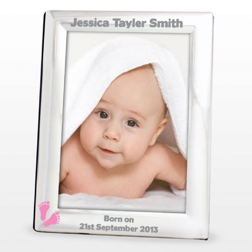 Personalised Pink Footprints Silver 5x7 Frame
